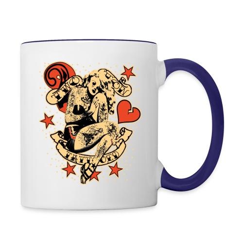 Screwed & tattooed Pin Up Zombie - Contrast Coffee Mug