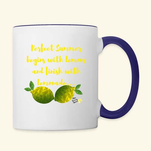 Perfect Summer begins with lemons and finish with - Contrast Coffee Mug