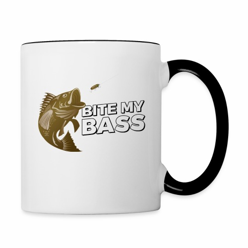 Bass Chasing a Lure with saying Bite My Bass - Contrast Coffee Mug