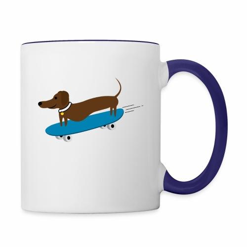 Dachshund Skateboarding - Contrast Coffee Mug