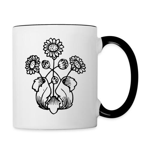 Vintage Sunflower Motif - Black Ink, White Fill - Contrast Coffee Mug