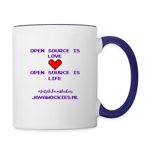 Open Source is Love. Open Source is Life. - Contrast Coffee Mug