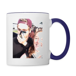 Luke Hemmings with a phone in his face - Contrast Coffee Mug