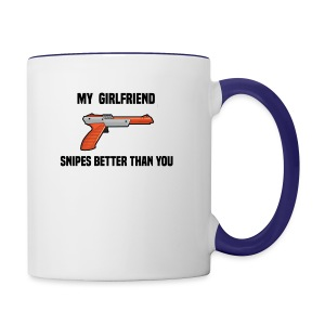 Girlfriend Snipes Better T-Shirt. Retro Gaming - Contrast Coffee Mug