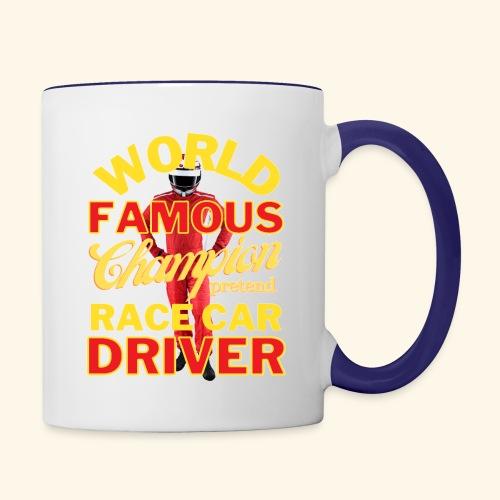 World Famous Champion Pretend Race Car Driver - Contrast Coffee Mug