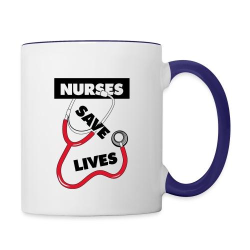 Nurses save lives red - Contrast Coffee Mug
