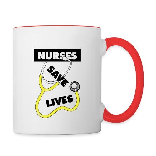 Nurses save lives yellow - Contrast Coffee Mug
