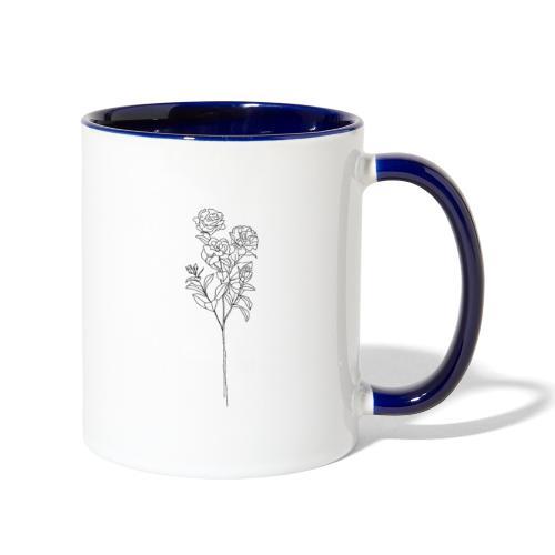 Minimal Floral Line Art Print - Contrast Coffee Mug