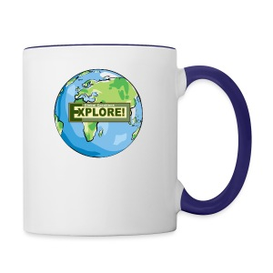 EXPLORE! Logo on the Earth - Contrast Coffee Mug