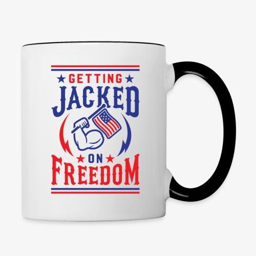 Getting Jacked On Freedom - Contrast Coffee Mug
