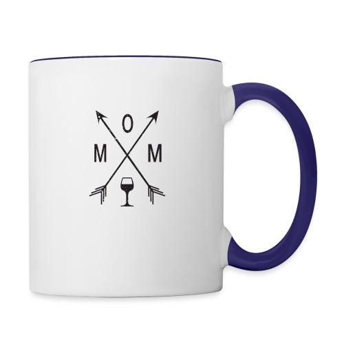 Mom Loves Wine (black ink) - Contrast Coffee Mug