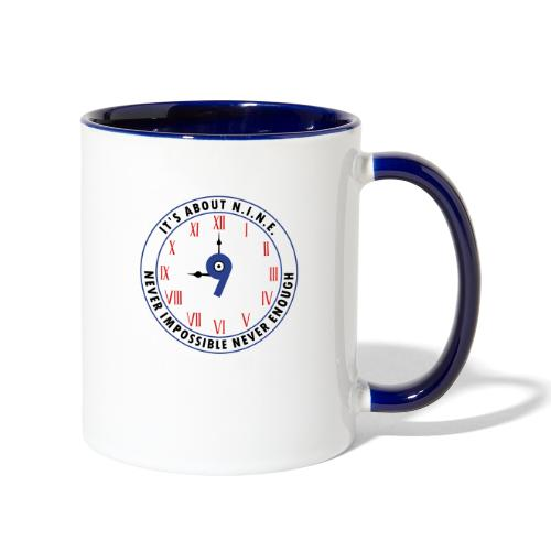 NINE Logo v2 2018 blue Outlines Red Numbers - Contrast Coffee Mug
