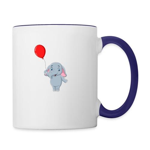 Baby Elephant Holding A Balloon - Contrast Coffee Mug