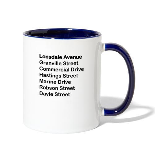 Street Names Black Text - Contrast Coffee Mug
