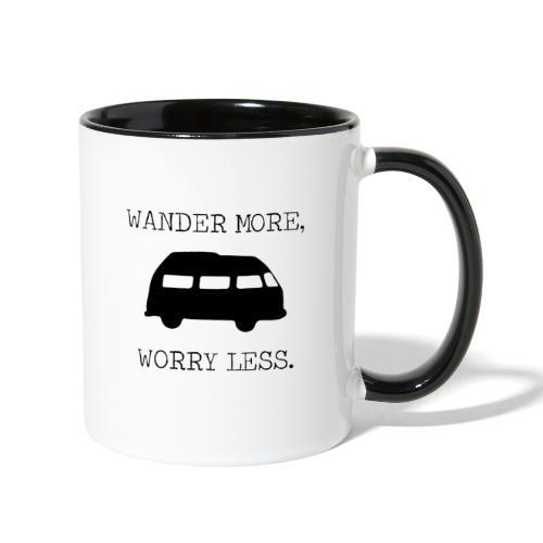 Wander More, Worry Less (black) - Contrast Coffee Mug