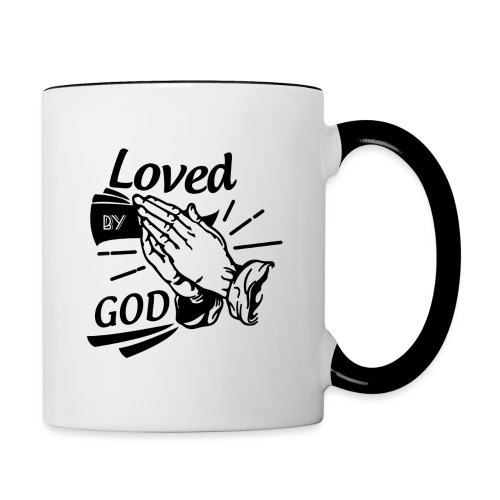 Loved By God (Black Letters) - Contrast Coffee Mug