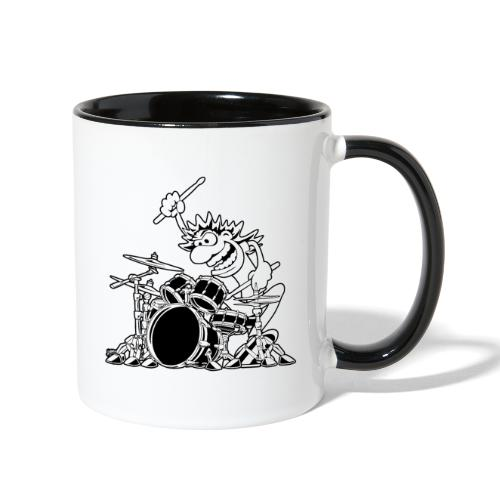 Crazy Drummer Cartoon Illustration - Contrast Coffee Mug