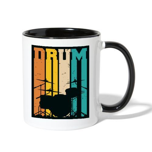 Retro Drum Set Silhouette Illustration - Contrast Coffee Mug