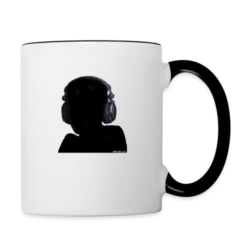 CD Music silhouette with headphones - Contrast Coffee Mug