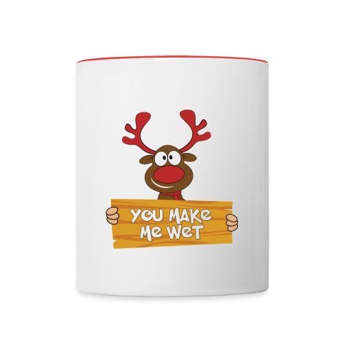 Red Christmas Horny Reindeer 5 - Contrast Coffee Mug