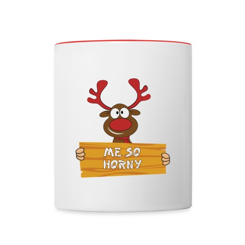 Red Christmas Horny Reindeer 3 - Contrast Coffee Mug