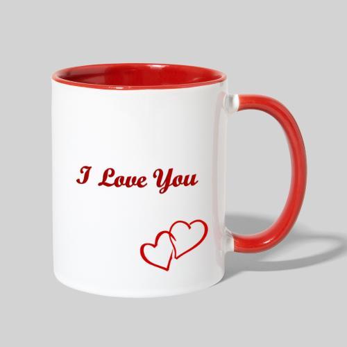 Double Heart Contrast Mug Red - Contrast Coffee Mug