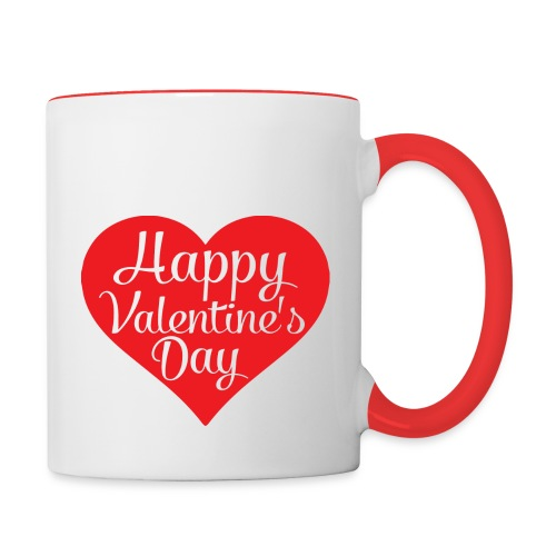 Happy Valentine s Day Heart T shirts and Cute Font - Contrast Coffee Mug