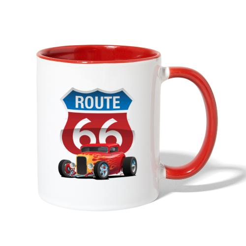 Route 66 Sign with Classic American Red Hotrod - Contrast Coffee Mug
