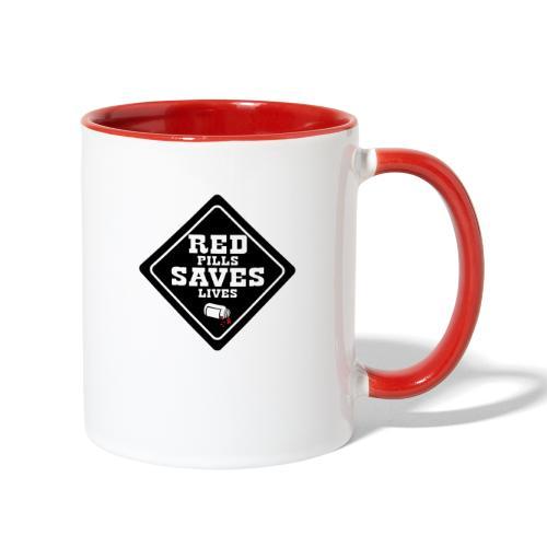 Red Pills Saves Lives Black - Contrast Coffee Mug