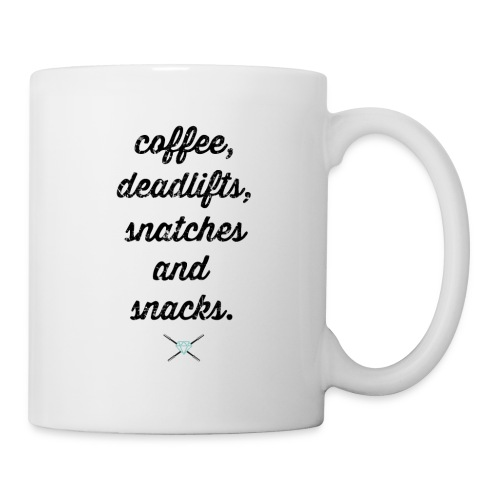 Coffee, deadlifts, snatches, snacks - Coffee/Tea Mug