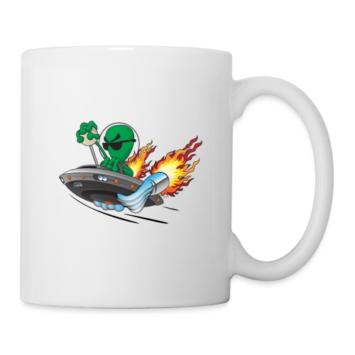 UFO Alien Hot Rod Cartoon Illustration - Coffee/Tea Mug
