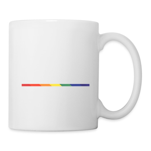 PKPride Stacked Design w Rainbow Stripe White Tex - Coffee/Tea Mug