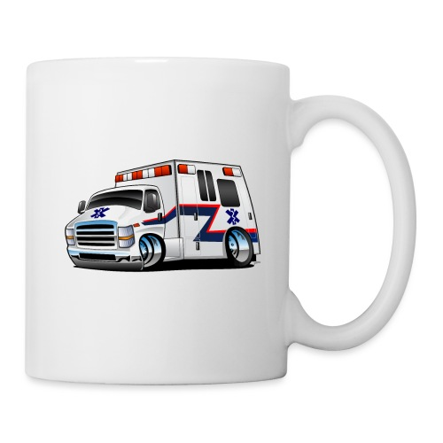 Paramedic EMT Ambulance Rescue Truck Cartoon - Coffee/Tea Mug