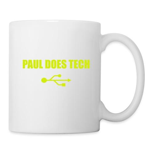 Paul Does Tech Yellow Logo With USB (MERCH) - Coffee/Tea Mug
