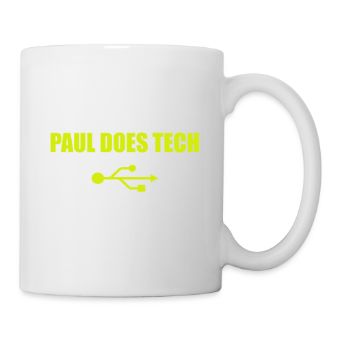 Paul Does Tech Yellow Logo With USB (MERCH) - Coffee/Tea Mug