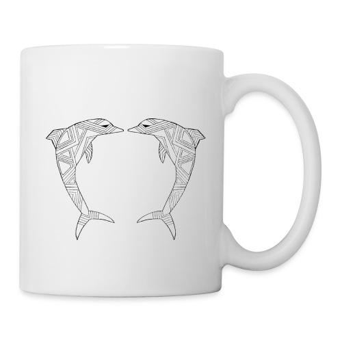 White Art Deco dolphins - Coffee/Tea Mug