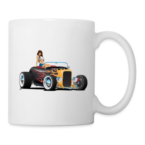 Custom Hot Rod Roadster Car with Flames and Sexy W - Coffee/Tea Mug