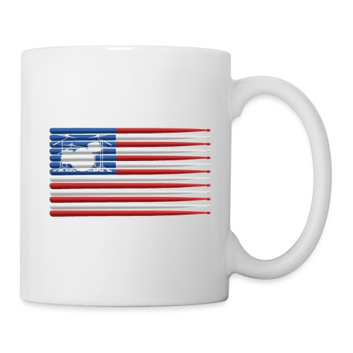 American Drummer Flag with Drum Kit and Sticks - Coffee/Tea Mug