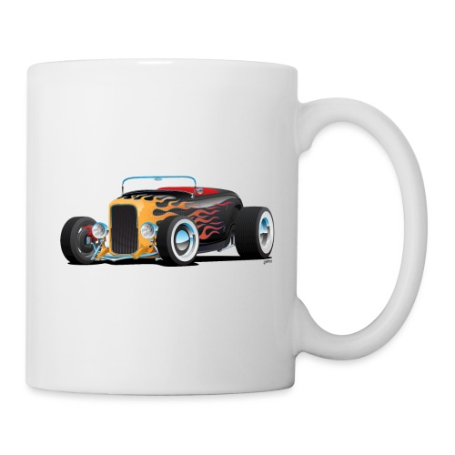 Custom Hot Rod Roadster Car with Flames - Coffee/Tea Mug