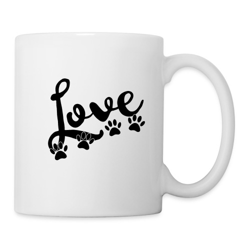 love typography with 4 dog paw prints - Coffee/Tea Mug