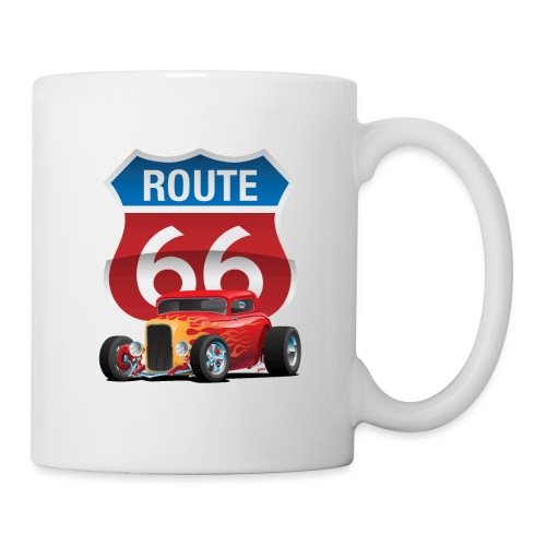 Route 66 Sign with Classic American Red Hotrod - Coffee/Tea Mug