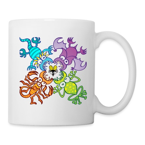 Bat, lizard, scorpion and frog stalking a poor fly - Coffee/Tea Mug