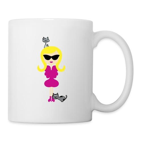 Modern Stylish Girl w/ Sunglasses + Cute Cats! - Coffee/Tea Mug