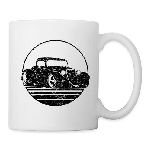 Retro Hot Rod Grungy Sunset Illustration - Coffee/Tea Mug