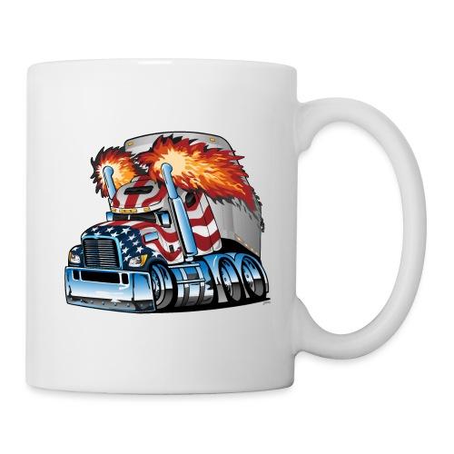 Patriotic American Flag Semi Truck Tractor Trailer - Coffee/Tea Mug