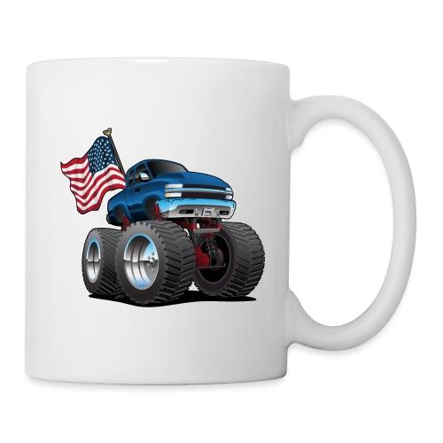 Monster Pickup Truck with USA Flag Cartoon - Coffee/Tea Mug