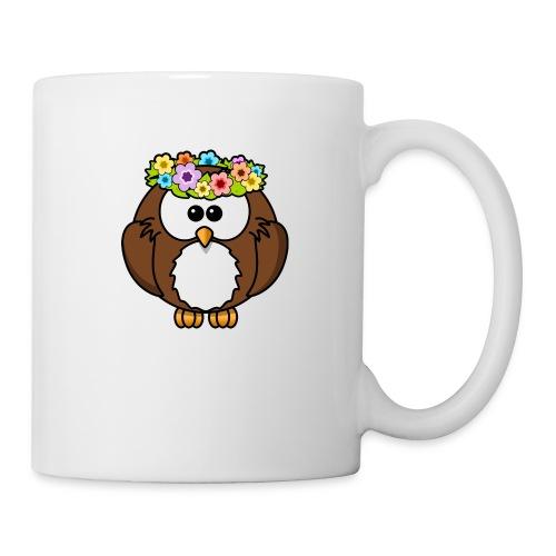 Owl With Flowers On Head T-Shirt - Coffee/Tea Mug