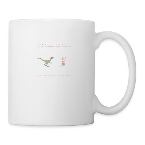 Ugly Christmas Sweater Running Dino and Santa - Coffee/Tea Mug