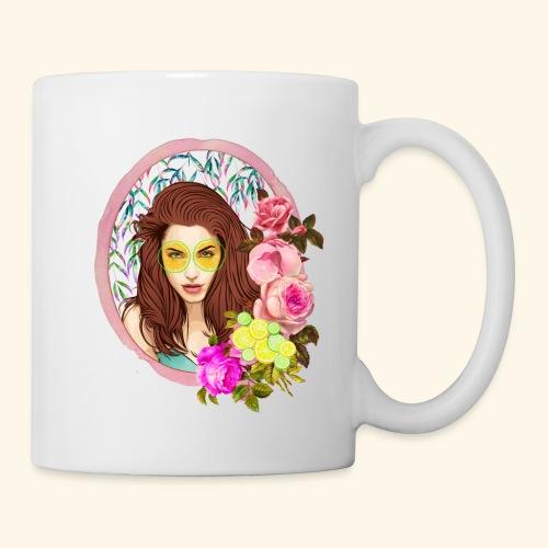 frame digital flower roses ribbon girl - Coffee/Tea Mug