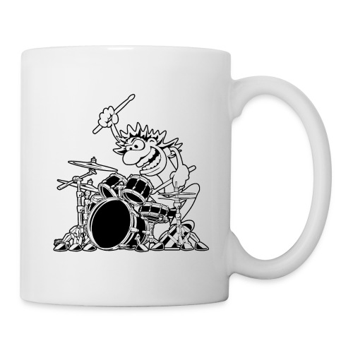 Crazy Drummer Cartoon Illustration - Coffee/Tea Mug